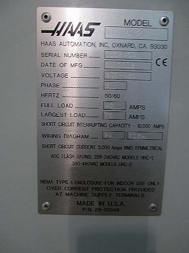 HAAS VF-10/50 CNC Vertical Machining Center