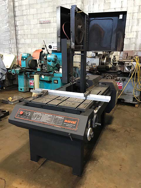 "18"" x 20"" MARVEL MODEL 8 MARK ii VERTICAL BAND SAW, 1"" Blade, 50-450 FPM, Power Blade Feed, 45 Degree Tilt, New 1994."