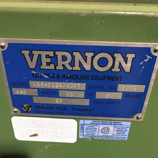 "VERNON TOOL COMPANY 24"" Abrasive Pipe Saw and Bevel Machine, Model VAS-0124, 1"" -24"" Diameter Capacity, Saw and Bevel Spindles, Hydraulic Pipe Rolls, Pneumatic Hold Downs. 40 Foot Length."