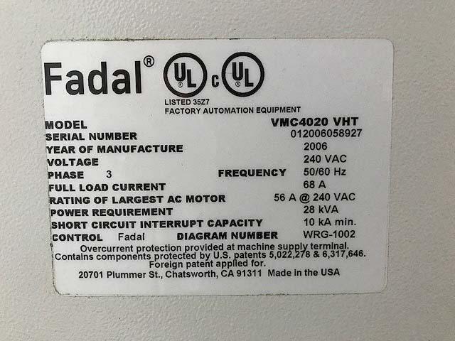 "FADAL VMC4020, Fadal Multi Processor CNC, 48"" x 20"" Table, X=40"",Y=20"",Z=20"", Cat-40, 10,000rpm,Box Ways, New 2006."