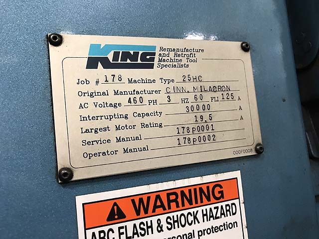 """CINCINNATI 25HC100, Fanuc 15M CNC Control, 48"""" x 96"""" Table, 48"""" Built In Rotary Table with 1 Degree Indexing, X-100"""", Y=60"""", Z=48"""", Cat-50, 3000 RPM, King Tool Retrofit in 1994."""