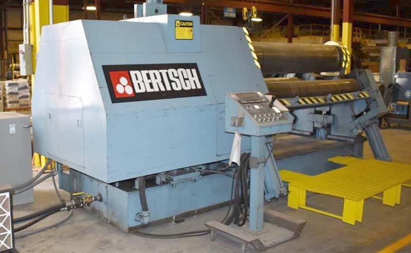 """8' X 1"""" BERTSCH 4 ROLL HYDRAULIC PLATE ROLLS, Model 100-08, 4-roll, hydraulic, drop end, New 1999."""
