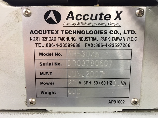 """ACCUTEX PRECISION EDM HOLE DRILL, Model AH-30ZA, Accutec ZNC Control, 18.1"""" x 8.27"""" Table, 13.77"""" Z-axis Stroke, .1mm to 3.0mm Hole Capacity, 3-Axis DRO, Z-Axis Depth and Feed Control, 330 lb Table Load Capacity, New 2007."""