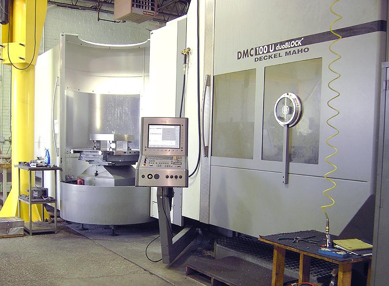 "DMG DMC100U duoBLOCK 5-Axis, Heidenhain iTNC 530 3D CNC Control, (6) 39"" x 31"" Pallets, X=39.4"",Y=39.4"",Z=39.4"", A=190 Degree, C=360 Degree, Full 5-Axis Contouring, 120 ATC, 18,000 rpm, New 2004."