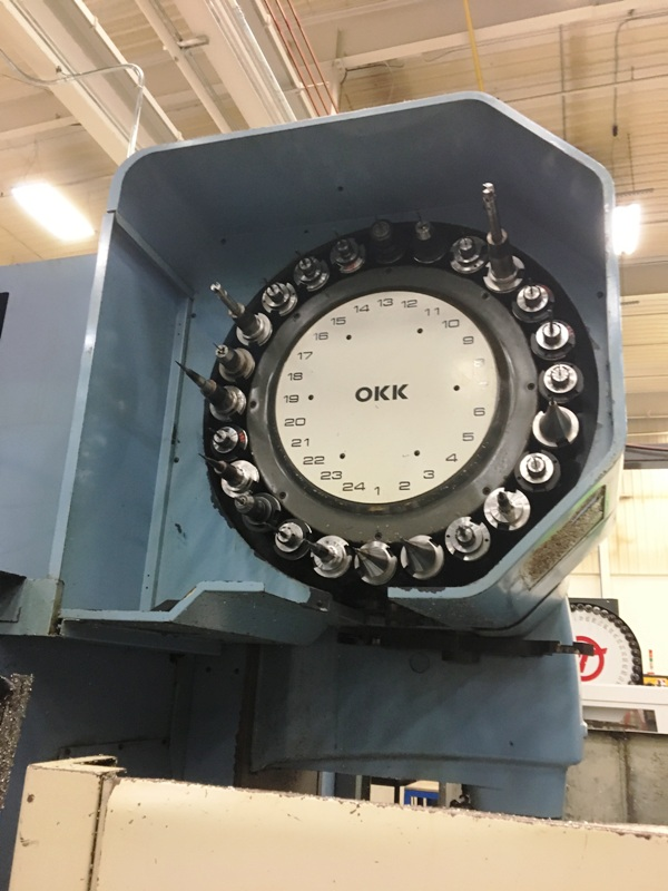 "OKK MCV-650 3-AXIS, OKK Mitsubishi Neomatic Meldas 300V CNC Controls, X=60"",Y=26.5"",Z=25.6"", 30HP, 4000 RPM, 24 ATC, New 1992."