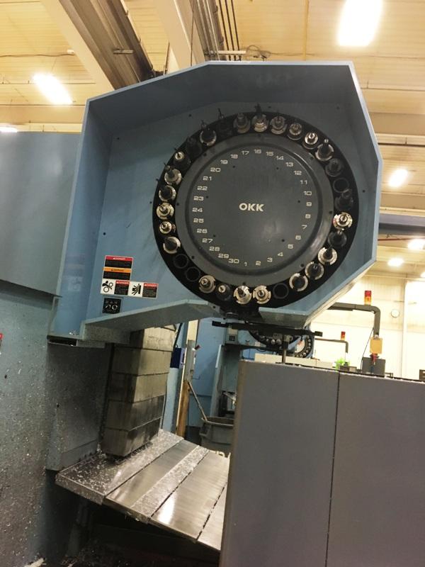 "OKK MCV-860 3-AXIS, OKK Mitsubishi Neomatic Meldas 500 CNC Controls, X=80.31"",Y=33.86"",Z=28.35"", 35/30HP, 6000 RPM, 30 ATC, New 1998."