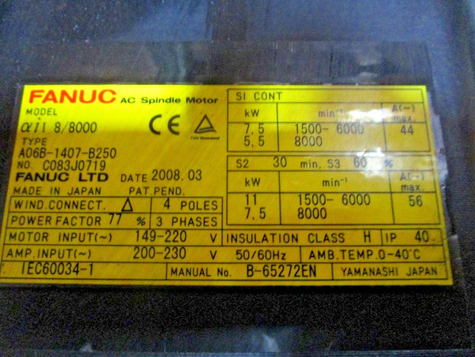 Fanuc Spindle Motor Alpha-iL8/8000 A06B-1407-B250