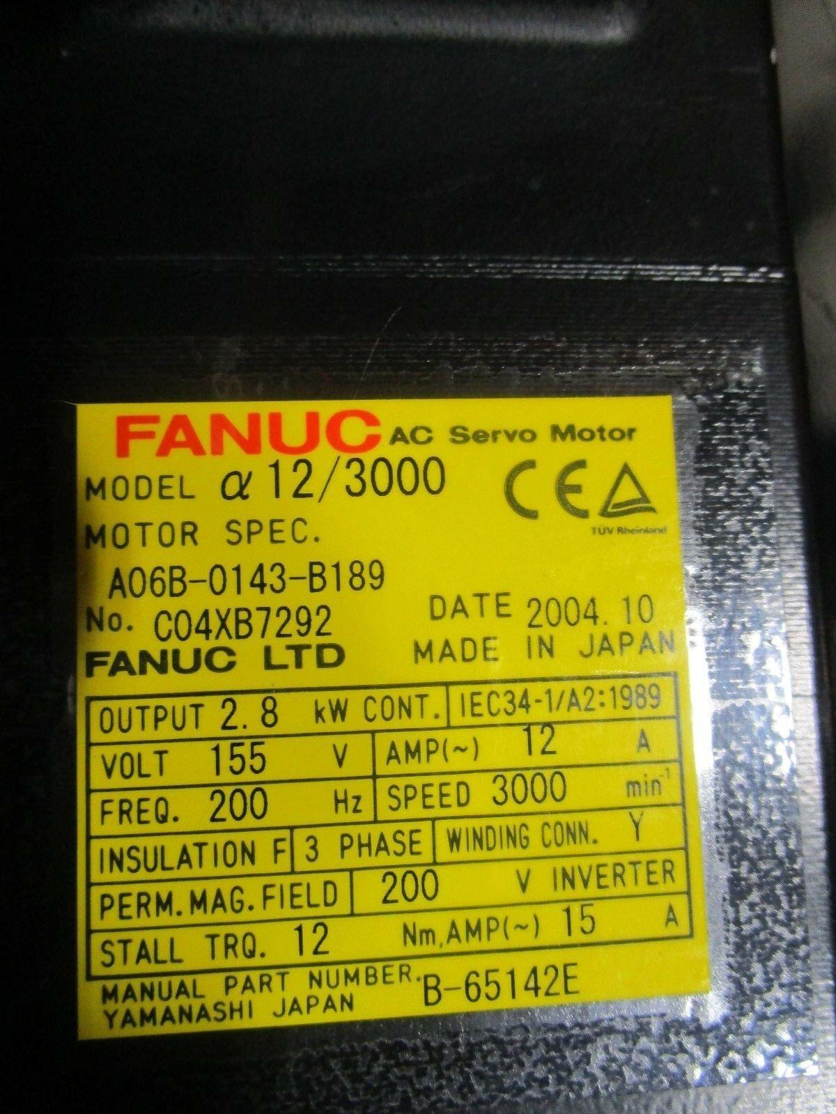 Fanuc Servo Motor Alpha 12/3000 A06B-0143-B189