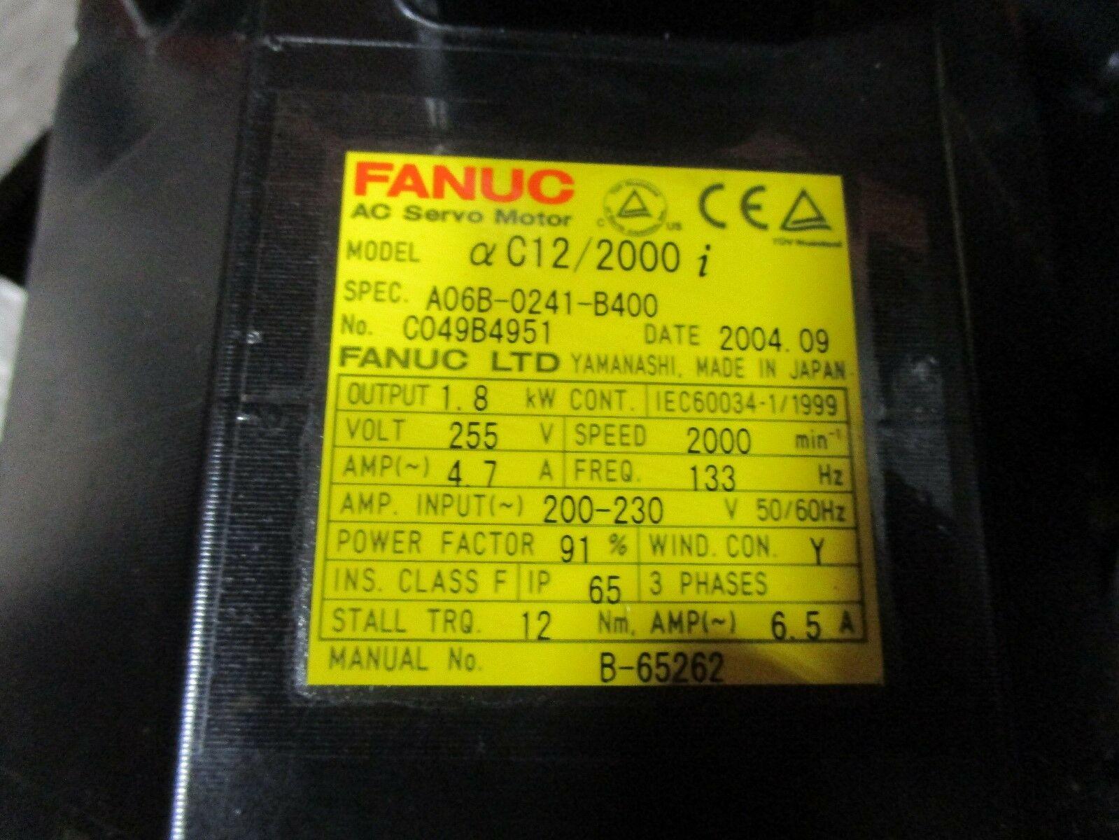 Fanuc Servo Motor Alpha C12/2000i A06B-0241-B400