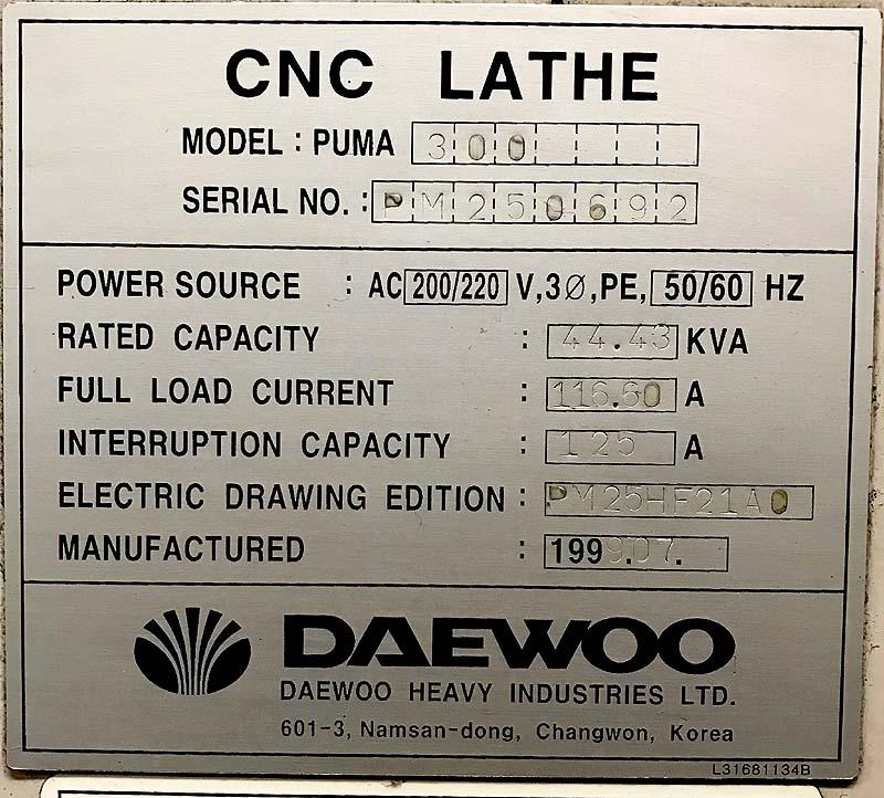 Daewoo Doosan Puma 300 CNC Turning Center
