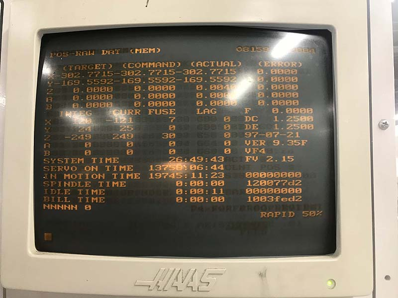 """HAAS VF-4, Haas CNC Control, 18"""" x 85"""" Table, X=50"""", Y=20"""", Z=25"""", 7500 rpm, Cat-40, 21 Station Tool Changer, Thru Spindle Coolant, New 1997."""