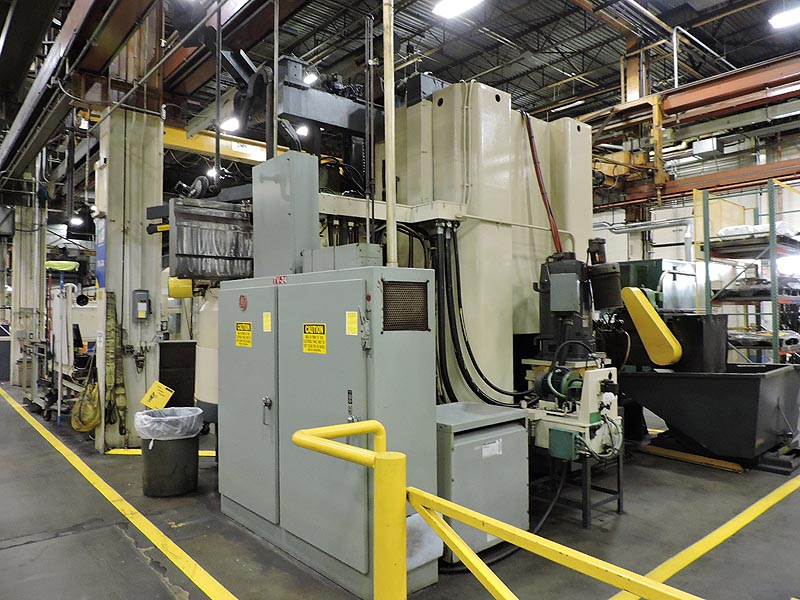 """63"""" BERTHIEZ VERTICAL BORING MILL, Fanuc 15T CNC Control, 63"""" Table, 74"""" Swing, 59"""" Max Height, 12 Position Tool Changer, Retro 1994."""