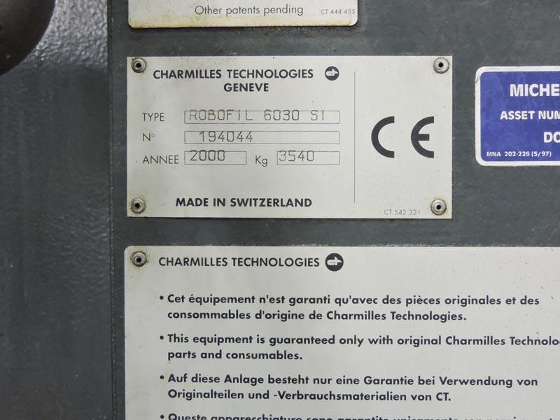 "CHARMILLES ROBOFIL 6030 SI CNC WIRE EDM, Charmilles CNC Control, X=24"", Y=15.6"", Z=14"", U & V Axis, New 2000."