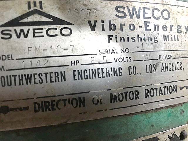 "10 CU FT SWECO VIBRATORY FINISHER, Model FM-10-7, 44-3/4"" Round Bowl, 5 HP, New 1964."