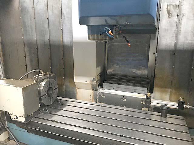 "MAZAK VTC-200B 4-AXIS, Mazatrol Fusion 640 CNC Control, 57"" x 20"" Table, X=44"", Y=20"", Z=20"", 10"" Nikken Rotary Table, Laser Tool Probe, 24 Station Tool Changer, New 2000."