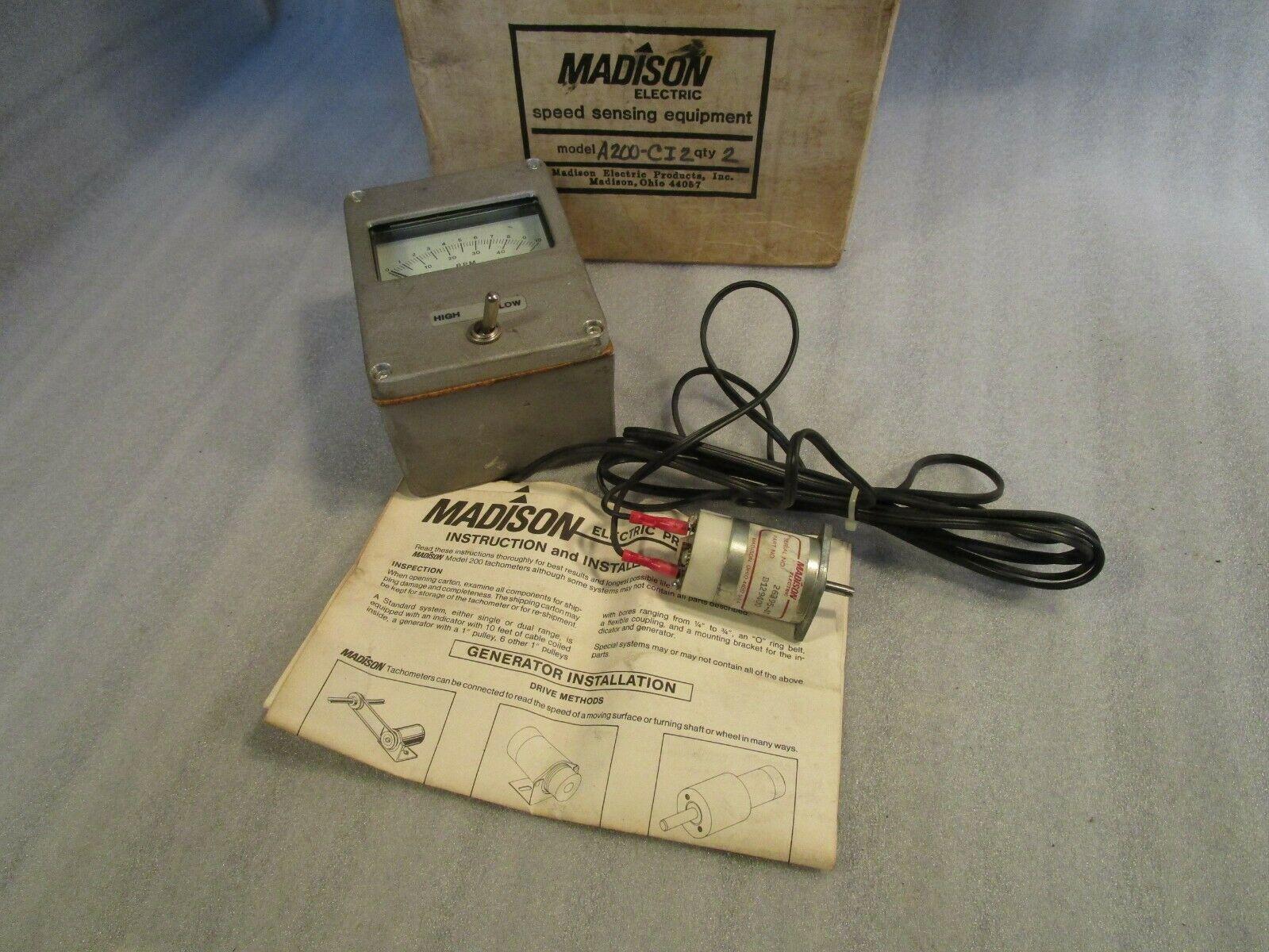 MADISON Electric Products A200-CI2 RPM Gauge w/ MADISON Tachometer B129400
