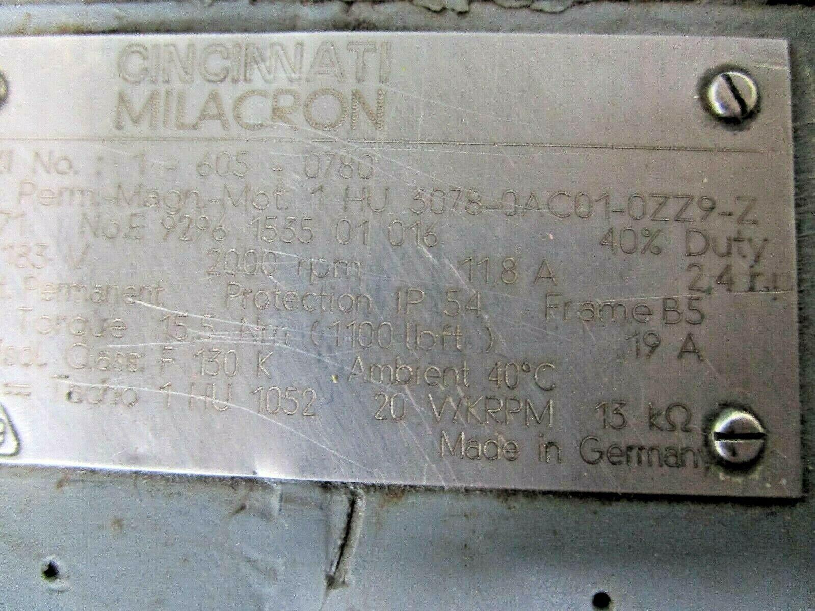Siemens Servo Motor 1HU3078-0AC01-0ZZ9-Z Cincinnati Milacron Part# 1-605-0780