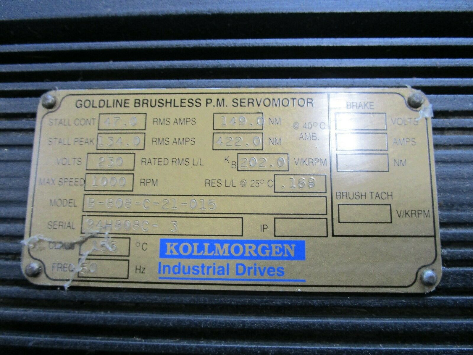 KOLLMORGEN SERVO MOTOR B-808-0-21-015