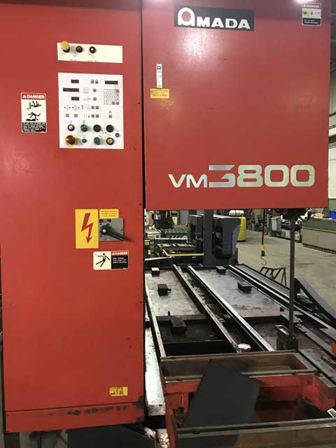 "AMADA VM3800 VERTICAL BLOCK PLATE BANDSAW, Model VM3800, 150"" x 31.5"" x 12"" Capacity, Programmable Control, Variable Blade Speed, Ferrous or Non-Ferrous, New 1993."