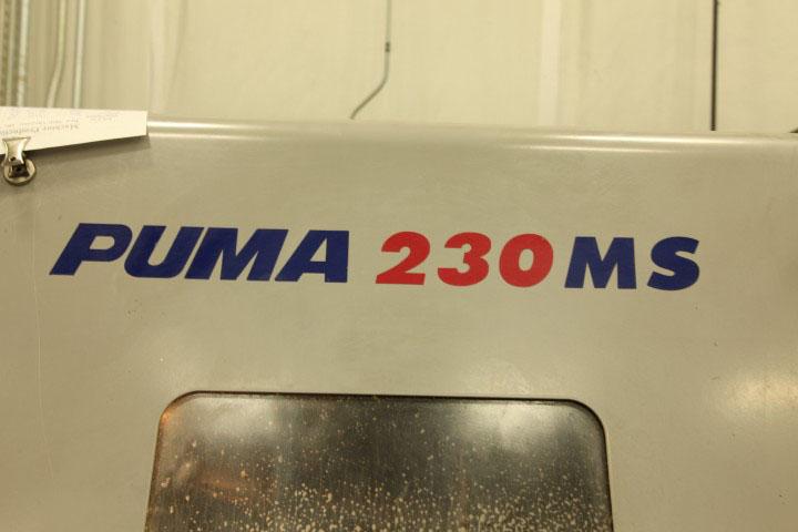 "DAEWOO PUMA 230MSB w/ Live Tooling & Sub Spindle Fanuc 18i CNC Control, LNS Quick Load Servo 65 Barfeeder, Parts Catcher, 8"" Chuck Main Spindle, 5"" Chuck Sub Spindle, 2001."