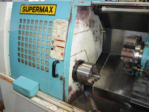 "SUPERMAX YCM TC-15, Fanuc OT, Barfeeder, 18"" Swing, 8"" 3-Jaw Power Chuck, Tailstock w/ 18"" Centers, Chip Conveyor, 2000."