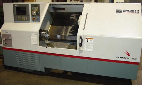 "CINCINNATI HAWK 250, Siemens Acramatic 2100 CNC Control, 21"" Swing, 10"" 3-Jaw Power Chuck, Tailstock w/ 27"" Centers, Chip Conveyor, 1999."