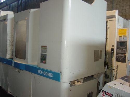 "OKUMA MX-60HB, OSP 700 CNC, (2) 24.8"" x 24.8"" Fully Contouring Pallets, X=39"" Y=31"", Z=32"", Thru Spindle Coolant, 40 ATC, New 1998."