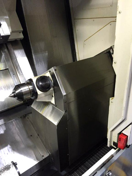 """OKUMA MULTUS B300C, OSP P200L CNC, B-Axis Universal Head, 10"""" Chuck, Programmable Tailstock, 10,000 RPM Milling Spindle, TSC, Y-Axis, C-Axis, Low Hours Cutting Mostly Aluminum, 2008."""