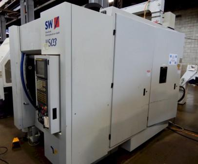 """SW BA S03-11, 4-AXIS VERTICAL MACHINING CENTER, Fanuc 16i-Mb CNC Control, 17""""x32"""" -360° Rotating Table, x=22"""", y=16"""", z=18"""", 40ATC, New 2003."""