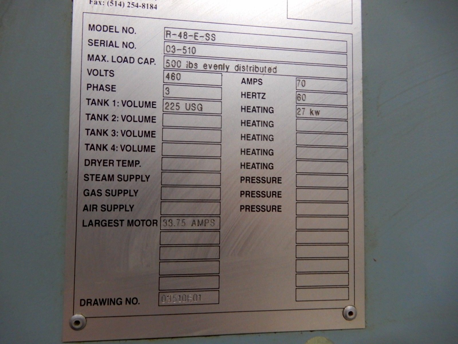 """PROCECO TYPHOON ROTARY PARTS WASHER, Model R-48-E-SS, 2 Stage, 10""""x18"""" Max Part Capacity."""