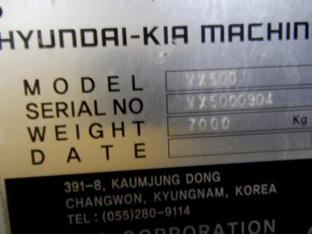 "HYUNDIA KIA VX500 VERTICAL MACHINING CENTER, Model VX500, Fanuc-Oi CNC Control, 48""x20"" Table, x=41"", y=20"", z=25"", 10,000 RPM, 24ATC, New 2007."