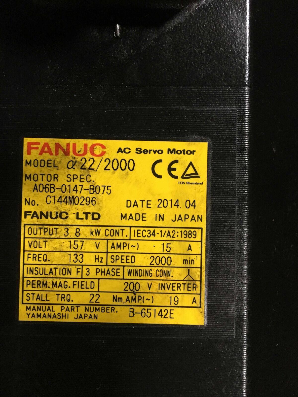 FANUC AC Servo Motor A22/2000, A06B-0147-B075