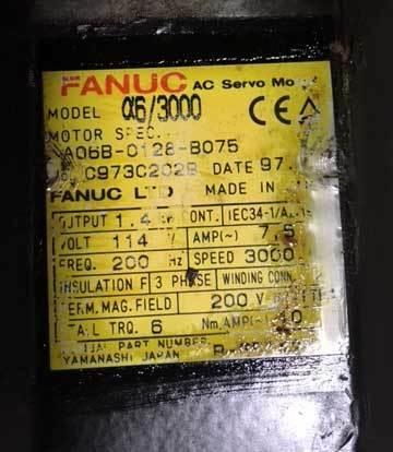 FANUC AC Servo Motor, Model 6/3000, SPEC A06B-0128-B075