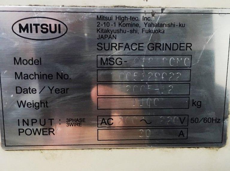"6"" x 14"" MITSUI CNC HIGH PRECISION PROFILE/SURFACE GRINDER, Model MSG618PCNC, PCNC (3-Axis) CNC Control , 6""x 14"" Mag. Chk, Table Travel= 7.5"" x 20"", Max Hght= 16"", 3 Pt Wheel Dresser, New 2005."
