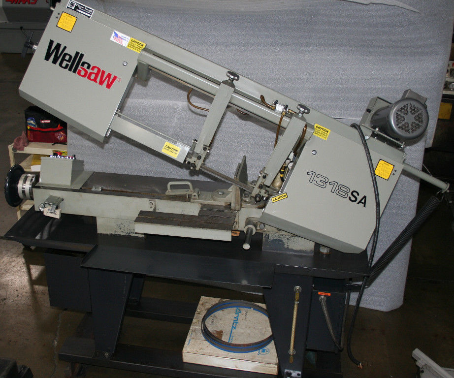 """13"""" x 18"""" WELLSAW SEMI-AUTOMATIC HORIZONTAL BAND SAW, Model 13185A, Hydraulic Down Feed with Adjustable Pressure, 45-degree Manual Swivel Vise, Low Use, New 2008."""
