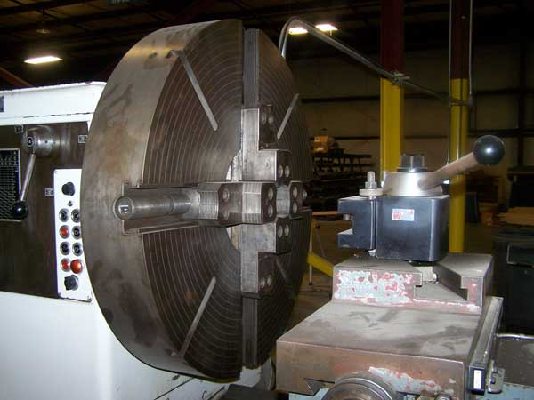 """55""""/70"""" x 168"""" MEUSER M6 HEAVY DUTY GAP BED LATHE, Model M6, DRO, 39"""" 4-Jaw Chuck, 55"""" Swing over Bed, 70"""" Swing in Gap, 41"""" Swing over Cross Slide, Tailstock with 168"""" Centers, Steady Rest, New 1974."""