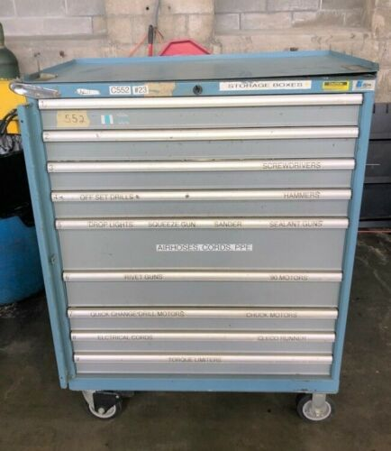 """9-Drawer Lista Steel Heavy Duty Parts/Tool Cabinet, 9 Tool Drawers, 38"""" Drawer width, 42"""" x 23"""" x 54"""" Overall Dims (LxWxH), 300 LBS Approx Weight."""