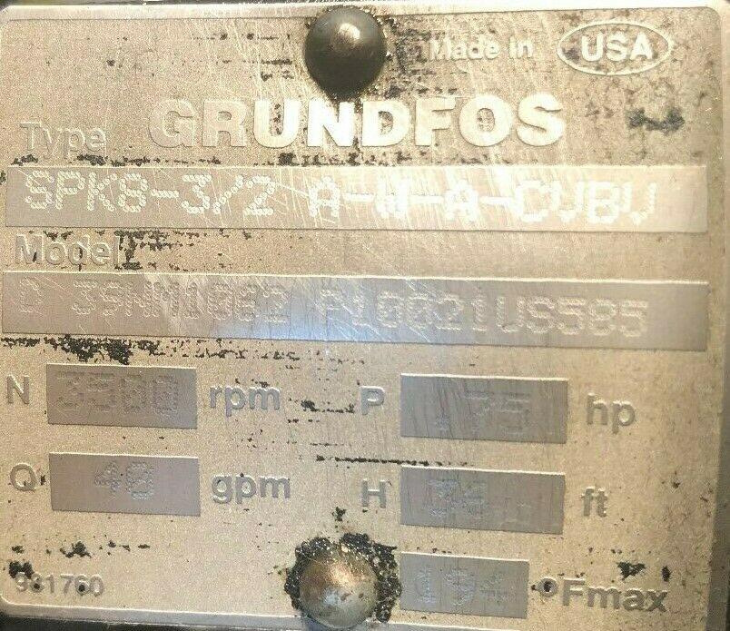 Grundfos Coolant Pump, Type SPK8-3/2, A-W-A-CVBV, model:D39NM11062,P10021US585, came off a working Okuma L1060 CNC Lathe
