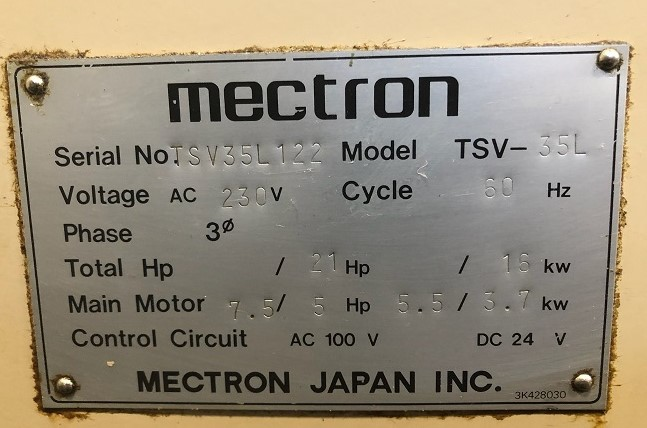 """MIYANO TSV-35L CNC DRILL and TAP CENTER, Fanuc O-M CNC Control, 24"""" x 15"""" Table, X=19"""",Y=14"""", Z=9"""", 6000 Max RPM Spindle, 10 Station Tool Changer, New 1995."""
