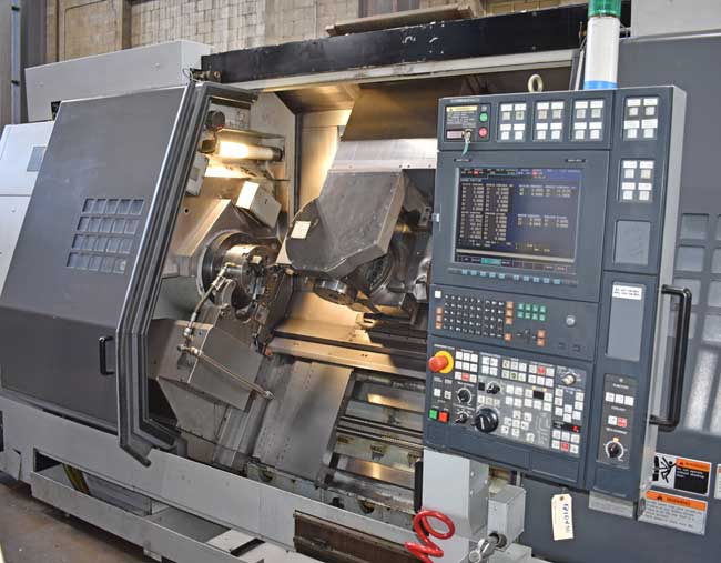 "MORI SEIKI MT2500S/1500, Mori MSX-501 (Fanuc 18iTB) CNC Control, (2) 10"" Chucks, 35"" Swing, 60"" Centers, Main Spindle 4000 RPM, Sub Spindle 4500 RPM, Milling Spindle 8000 RPM, B-Axis, C-Axis, Y-Axis, 120 ATC, TSC, Prog Steady Rest, New 2005."