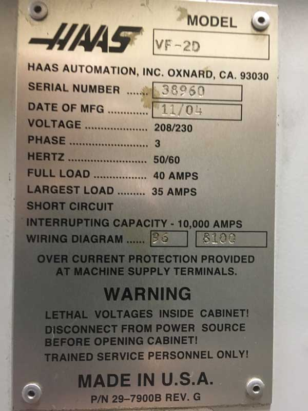 """HAAS VF-2D 4-Axis,Haas CNC Control, 8"""" Haas Add On Rotary Table, 36"""" x 14"""" Table, Travels X=30"""", Y=16"""", Z=20"""", 8,100 Spindle RPM w/ Geared Box, 20 Station Tool Changer, Renishaw Probe, New 2004."""