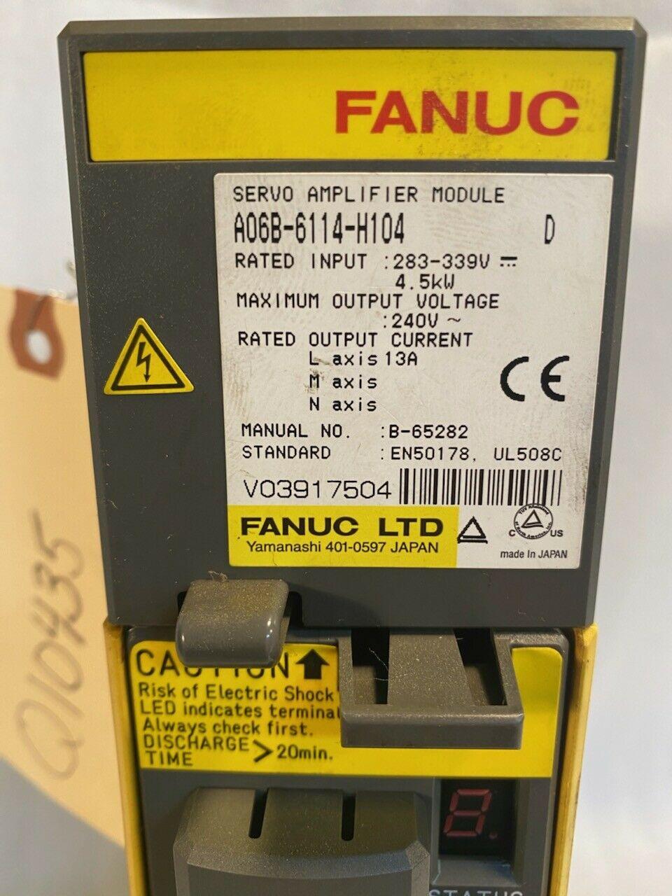 Fanuc Servo Amplifier A06B-6114-H104 D, Servo Drive, Tested, 30 Day Return