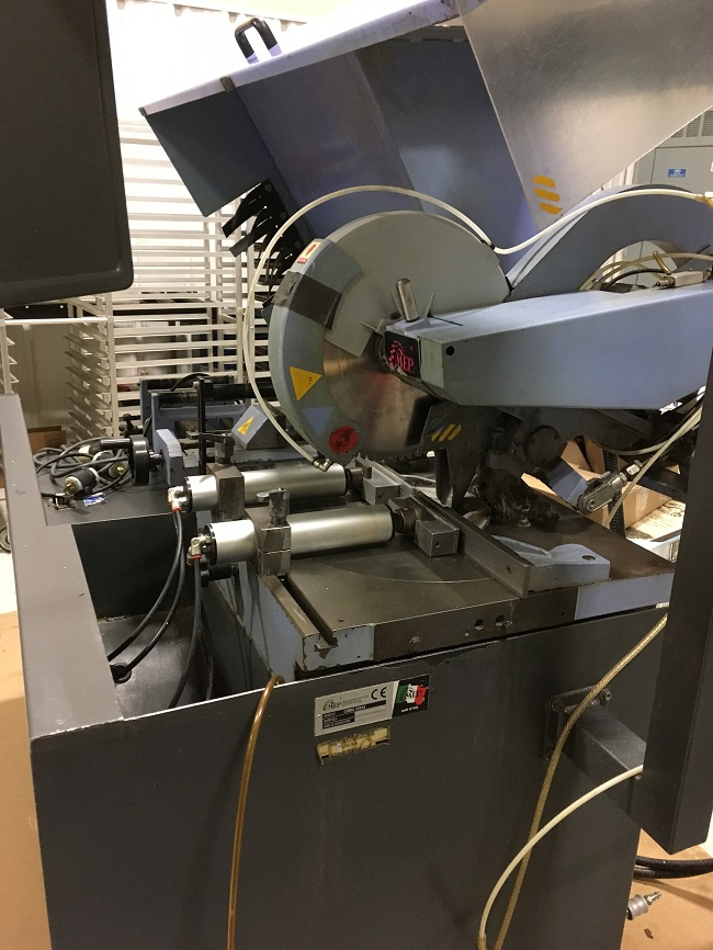 """MEP COBRA 350AX NON FERROUS AUTOMATIC COLD SAW, Model 350AX, 14"""" Blade Diameter, 4-1/2"""" Round Capacity, Automatic Stock Feed, Pneumatic Vises, Chip Collector, New 2001."""