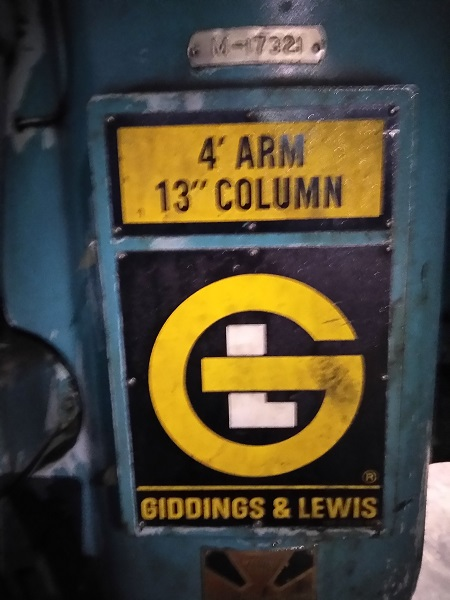 "4' x 13"" Giddings and Lewis (Cincinnati-Bickford) Radial Arm Drill"