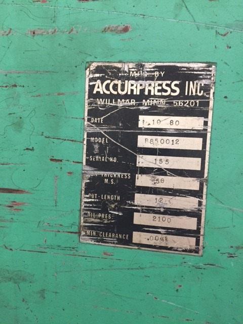 1/2 x 12 Accurshear Hydraulic Power Squaring Shear