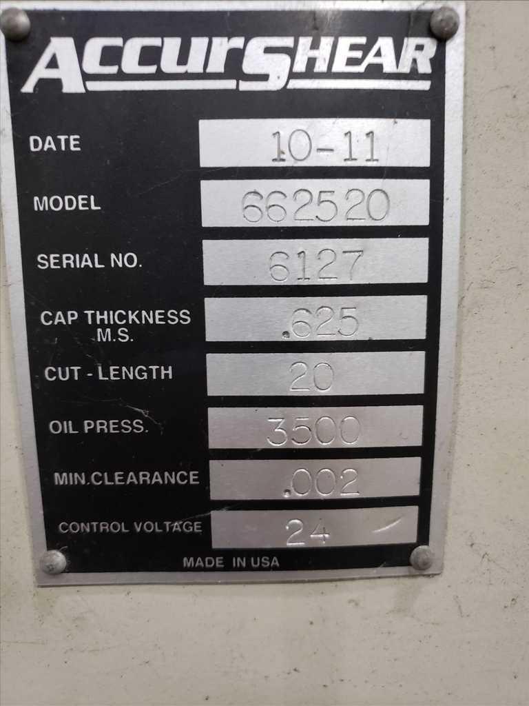 """0.625"""" x 20' Accurshear Hydraulic Shear"""