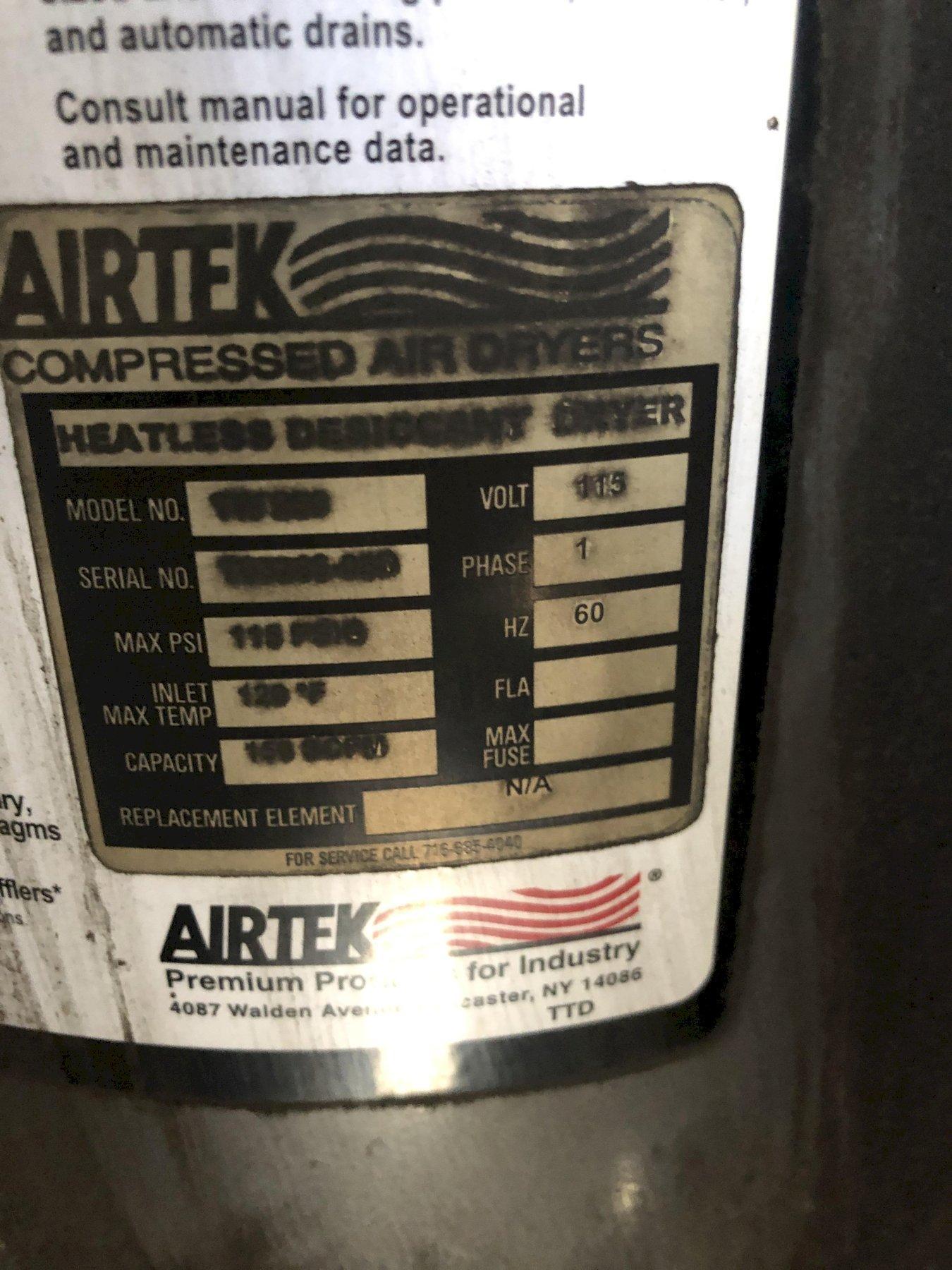 Airtek heatless desiccant air dryer model tw 250 s/n ? rated at 150 scfm and air receiver 3' x 8' tall