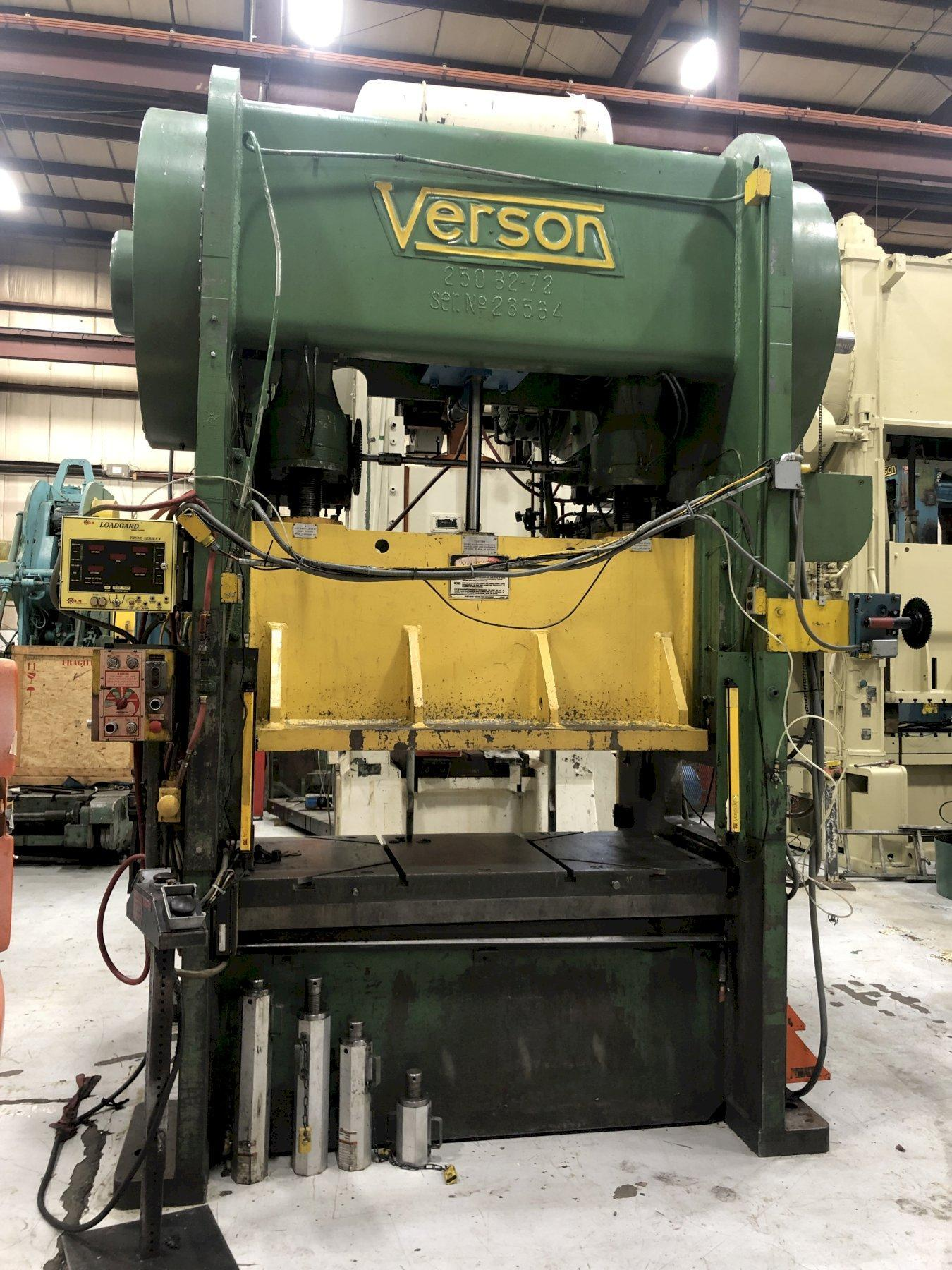 250 ton Verson 250-B2-72 Straight Side Press