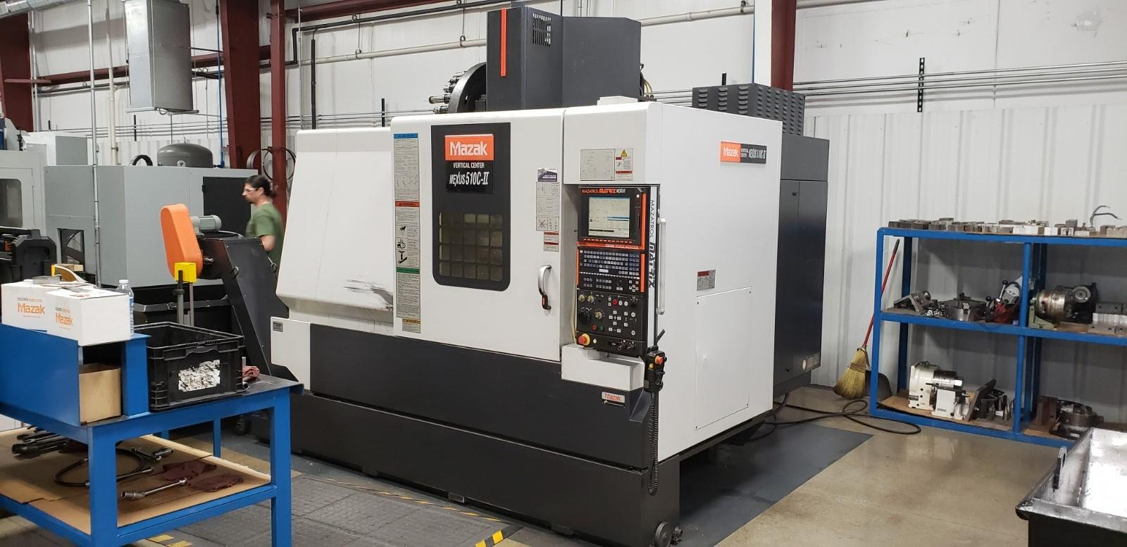 "Mazak VCN-510C-II CNC Vertical Machining Center, Nexus Control, 41""/20""/20"" Travels, 12K Spindle, Coolant Through Spindle, 30 ATC, 25 Horsepower, ATLM, Synchronous Tap, Handwheel, Conveyor, 2007"