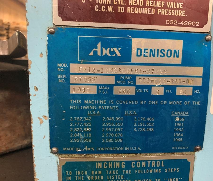 12 TON ABEX DENISON MODEL FH12 HYDRAULIC C-FRAME PRESS